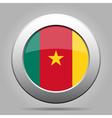 Flag of Cameroon Shiny metal gray round button vector image