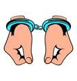 hands in handcuffs icon icon cartoon vector image