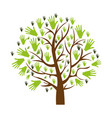 color background of tree with leaves in shape of vector image