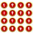 Lamp icon red circle set vector image