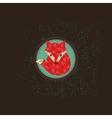 Hipster fox emblem vector image