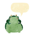 cartoon fat frog with speech bubble vector image