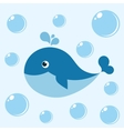 Cute cartoon blue whale vector image
