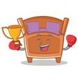 boxing cute bed character cartoon vector image