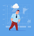 business man wet under rain big problem failure vector image