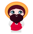Cute cartoon Jesus Christ character vector image