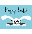Happy Easter bunny with glasses on blue background vector image