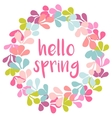 Hello spring pink watercolor wreath card vector image