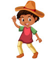 Mexican boy wearing hat vector image