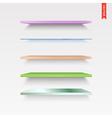 Set of Glass Wood Plastic Metal Shelves in vector image