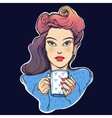 Beautiful pin-up girl with a coffee cup vector image