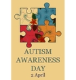 Autism awareness day background retro vector image