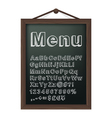 Cafe menu board with chalk alphabet vector image