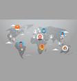 social media communication world map concept vector image