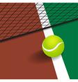 Tennis Ball on court corner line vector image