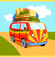 traveling by minibus cartoon vector image