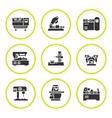 Set round icons of machine tool vector image