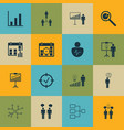set of 16 board icons includes team meeting vector image