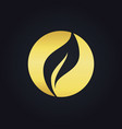 round organic leaf bio gold logo vector image