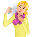 Ill woman with spray vector image