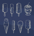 sketch ice cream collection on blue backdrop vector image