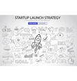 Strartup Launch Strategy Concept with Doodle vector image