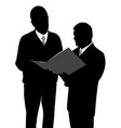 two businessmen looking at a new project plan vector image