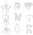 Hand draw flat christmas of doodles vector image