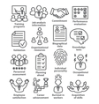 Business management icons in line style Pack 23 vector image