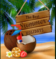 hanging wooden board on tropical background vector image