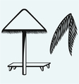 Palm leaf and beach umbrella vector image