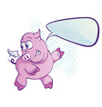 flying pig cartoon vector image vector image