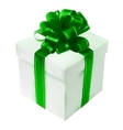Gift box with red bow isolated on white vector image