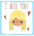 I miss you flat greeting card vector image