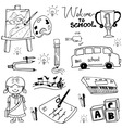 School education object doodles vector image