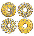 set of gold donuts with silver cream vector image