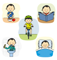 The daily activities of a boy vector image
