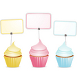 cupcakes and labels vector image vector image
