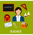 School teacher with education icons vector image vector image
