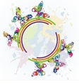 beautiful butterflies on colorful background vector image vector image