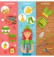 Farmers Gardening 3 Flat Banners Set vector image