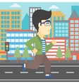Young man running vector image