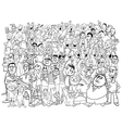 black and white people large group vector image