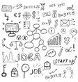 Business icons set sketch Business signs hand vector image