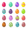 Cartoon colorful easter eggs with floral patterns vector image