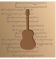 guitar cut out of paper - music background notes vector image