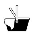 picnic basket icon in black silhouette vector image