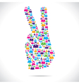 victory sign design group of people vector image