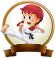 Banner template with girl doing karate vector image vector image
