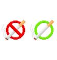 Pixel no smoking and smoking area signs vector image